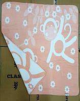 Детский плед-одеяло обезьянки коралловый хлопок