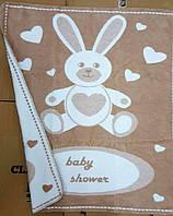 Детский плед-одеяло зайка baby кофейный хлопок