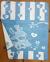 Детский плед-одеяло зайка голубой хлопок