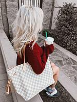 Сумка женская шоппер Луи Виттон светлая 50см Лого , Документы , пыльник