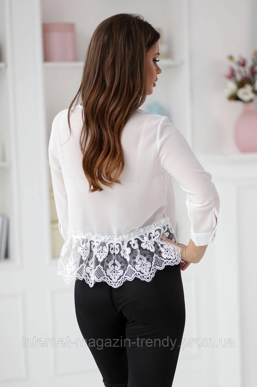 Стильная блуза с кружевом макраме в трех расцветках  Р50364097