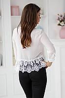 Стильная блуза с кружевом макраме в трех расцветках  Р50364097, фото 1