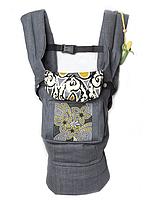 """Эргономичный рюкзак """"Цветочная геометрия"""" серый джинс"""