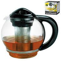 Заварник Stenson MS-0220 стекло, 1500мл, с черной ручкой, Посуда для чая и кофе, Чайник, Чайник заварник, заварник для чая, заваривания чая