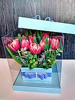 """19 тюльпанов в коробке """"Пушистые тюльпаны"""", фото 1"""