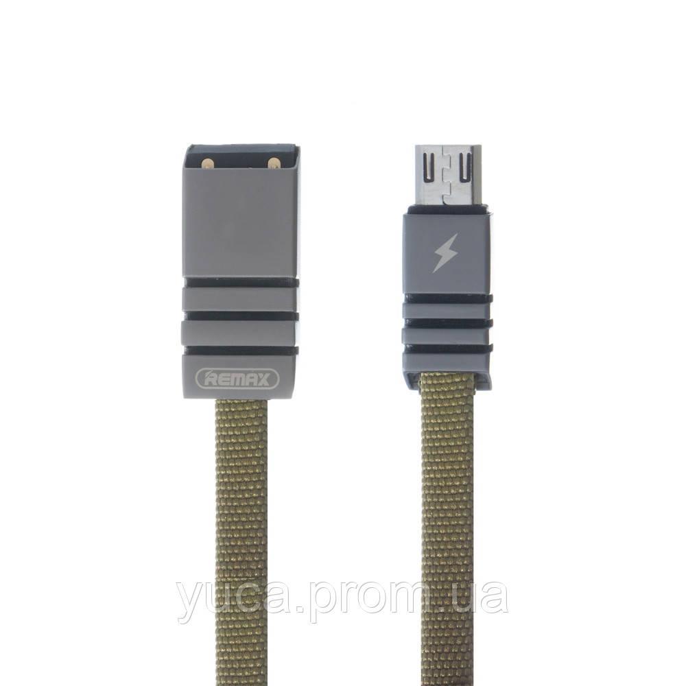 Кабель USB Remax Micro Weave RC-081m 1м зелёный