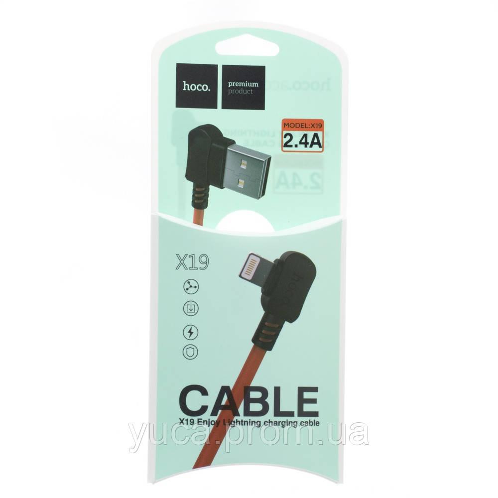 Кабель USB Hoco Lightning X19 1м чёрно красный