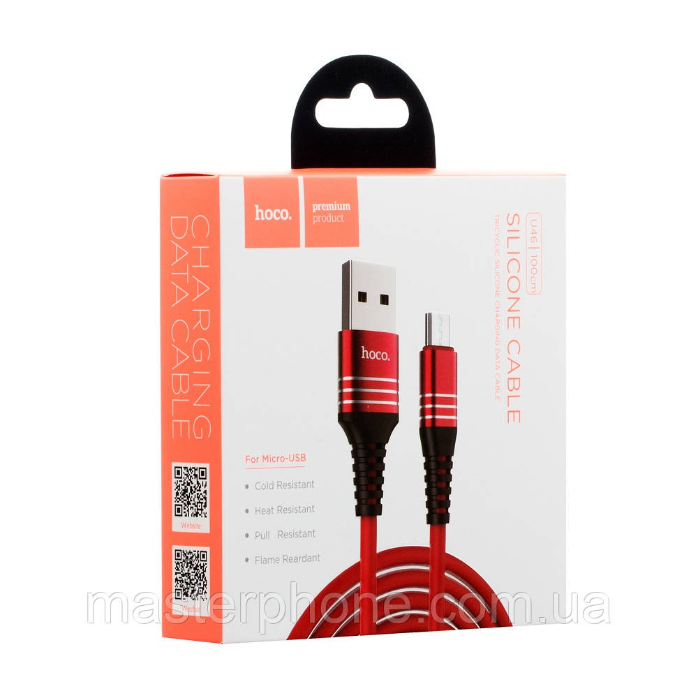 Кабель USB Hoco Micro U46 Tricyclic красный