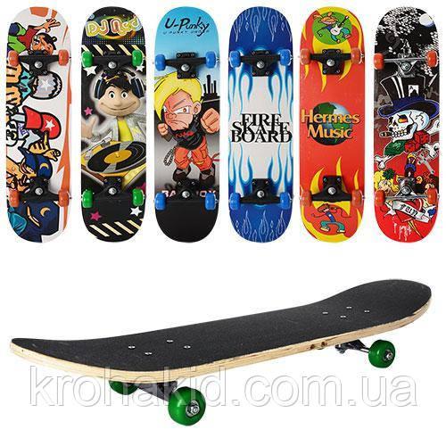 Скейт (скейтборд) детский деревянный MS 0322-3 (6 разных дизайнов)