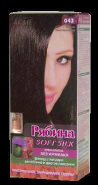 Крем-краска для волос без аммиака Рябина Soft Silk с флюидом 043 Темно-каштановый
