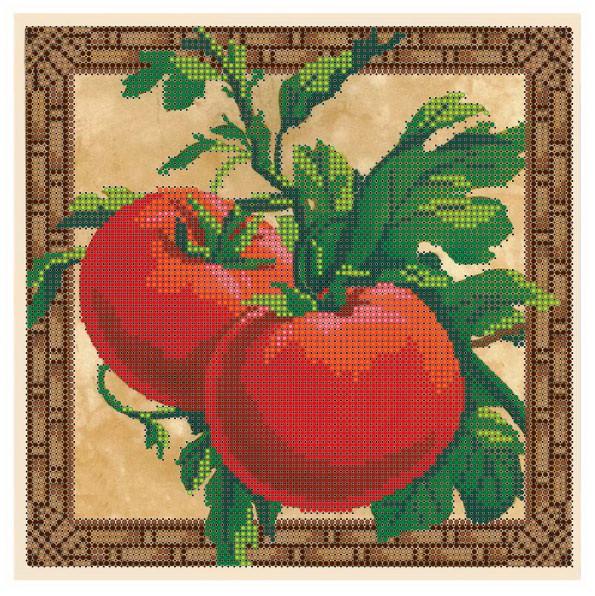 """Схема для частичной вышивки бисером - """"Вкусный томат"""""""
