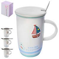 """Чашка с крышкой и ложкой """"Кораблик"""" R84850 объем 400мл, керамика / металл, чашки, кружка, посуда, столовая посуда, оригинальные чашки и кружки"""