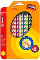 Карандаши цветные, набор 12шт Stabilo + точилка 290224