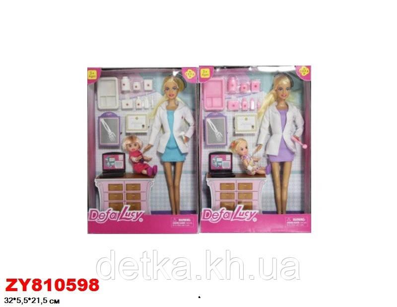Кукла DEFA 30см 8348 доктор с ребенком и аксес