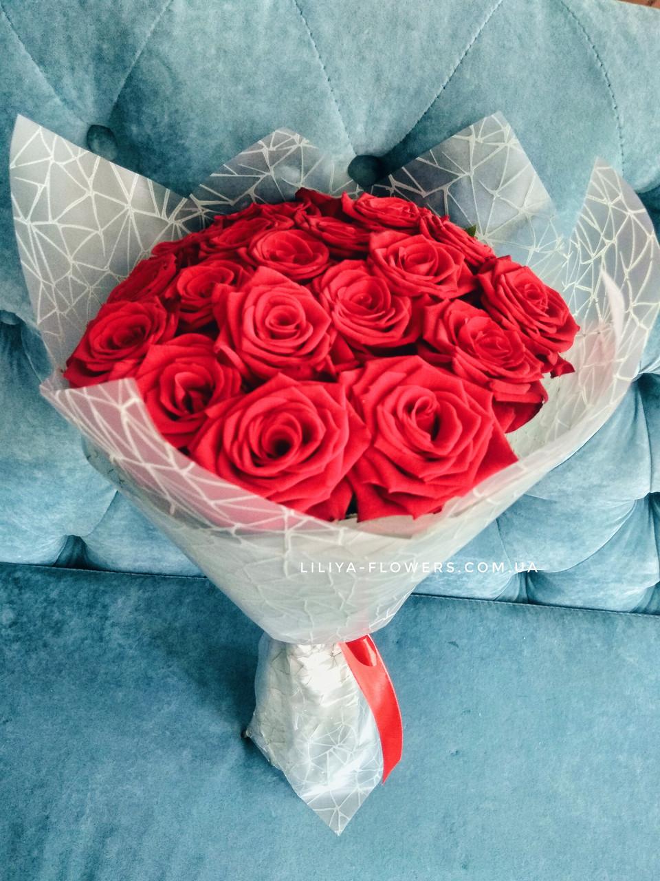 19 красных роз 60 см