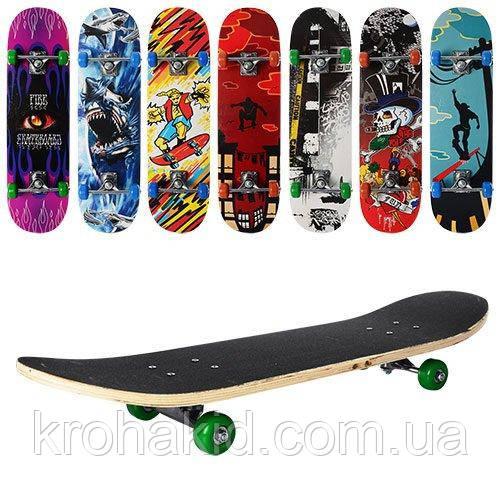 Скейт (скейтборд) детский деревянный MS 0322-2 (7 разных дизайнов)