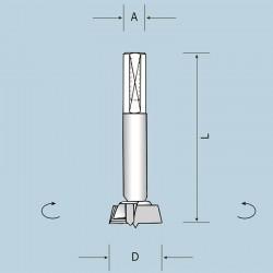 Чашечное сверло D15 L70 S10x40 LH (левое) 04301507022