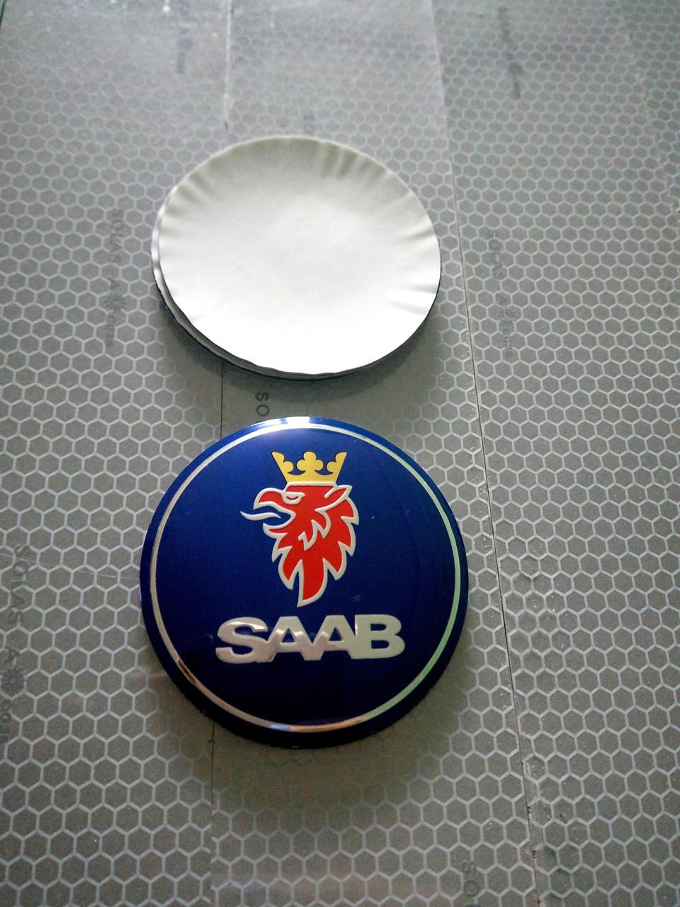 3D наклейки на диски и колпаки SAAB металл  56 мм