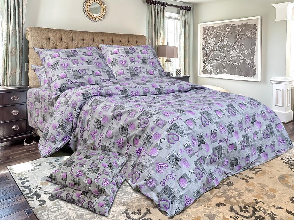 Півтораспальний постільний комплект - Сердечки фіолетові