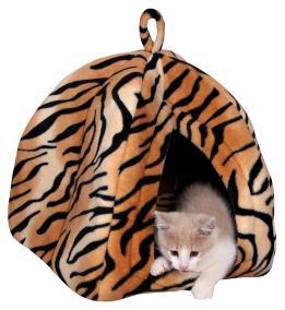 """Trixie Лежак-домик для кошки """"Nelo"""", 35х40х35см., плюш, тигровый."""