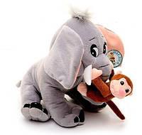 Мягкая игрушка  Слоненок с обезьянкой