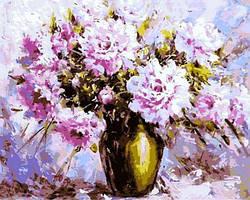 Картина по номерам Пионы в стеклянной вазе. Худ. Эдуард Александрович Жалдак, 40x50 см., Mariposa