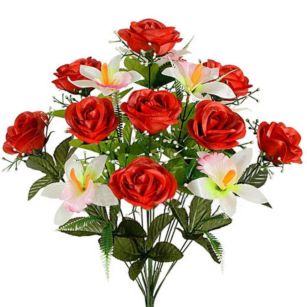 Букет роз с орхидеей, 54см (8 шт. в уп)