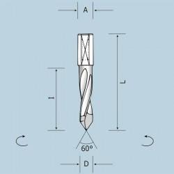 Сквозные сверла, L=57,5 мм