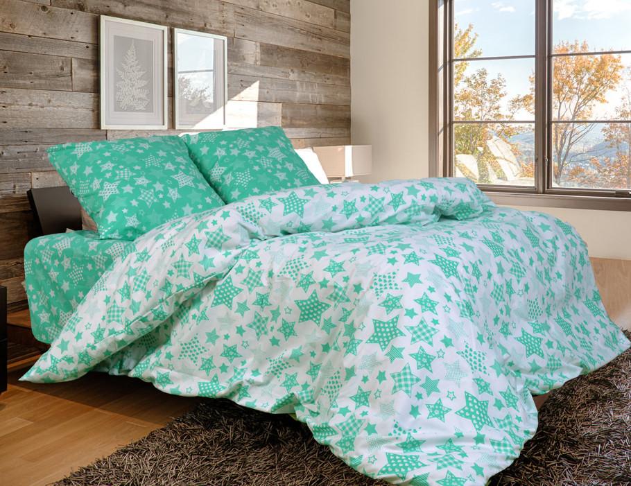 Двоспальний постільний комплект - Зірки зелені компанія