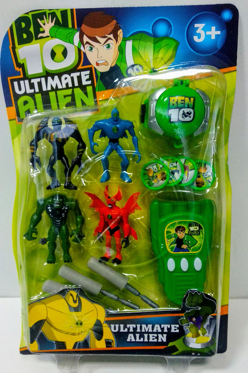 Набор фигурок супергероев Бен 10 с оружием и аксессуарами - Superheroes, Ben 10, Ultimate Alien, Bandai