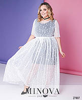 Эффектное двухслойное платье из сетки и трикотажа с 48 по 58 размер, фото 1