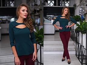 """Стильная женская блуза """"Кокетка"""" с баской и вырезом на груди (6 цветов), фото 3"""