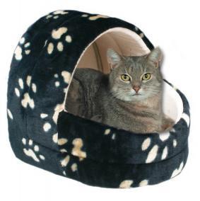 """Trixie Лежак-Печера для кішки, 40 см, """"Котячі лапки"""", черн."""