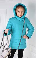 Куртка демисезонная косуха, цвет бирюзовый