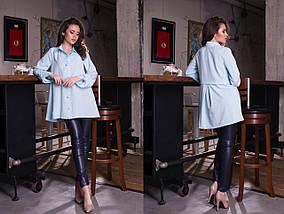 """Асимметричная женская рубашка-туника """"BINGO"""" с длинным рукавом (8 цветов), фото 3"""