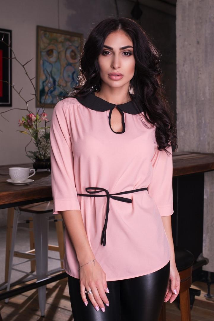 """Стильная женская блуза """"NINELLE"""" с контрастным воротничком (6 цветов)"""