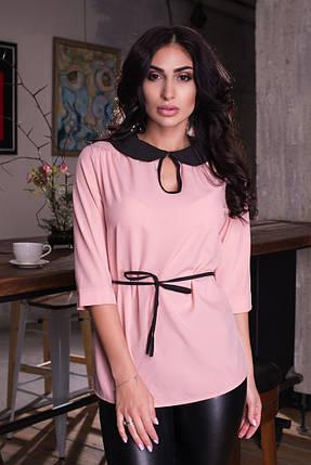 """Стильная женская блуза """"NINELLE"""" с контрастным воротничком (6 цветов), фото 2"""