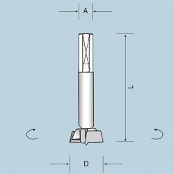 Чашечное сверло D38 L70 S10x40 LH (левое) 04303807022