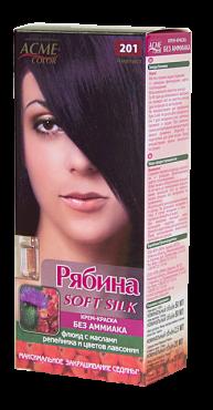 Крем-краска для волос без аммиака Рябина Soft Silk с флюидом 201 Аметист