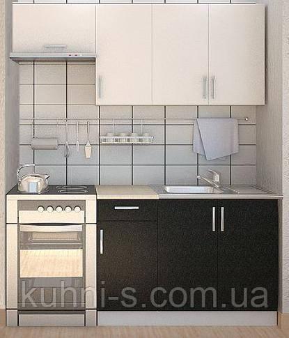 Кухня в Киеве  ЭКОНОМ - Фасад ДСП Белый, Черный