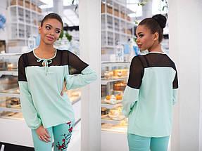 """Комбинированная женская блуза """"LIOR"""" с сеткой и длинным рукавом (7 цветов), фото 3"""