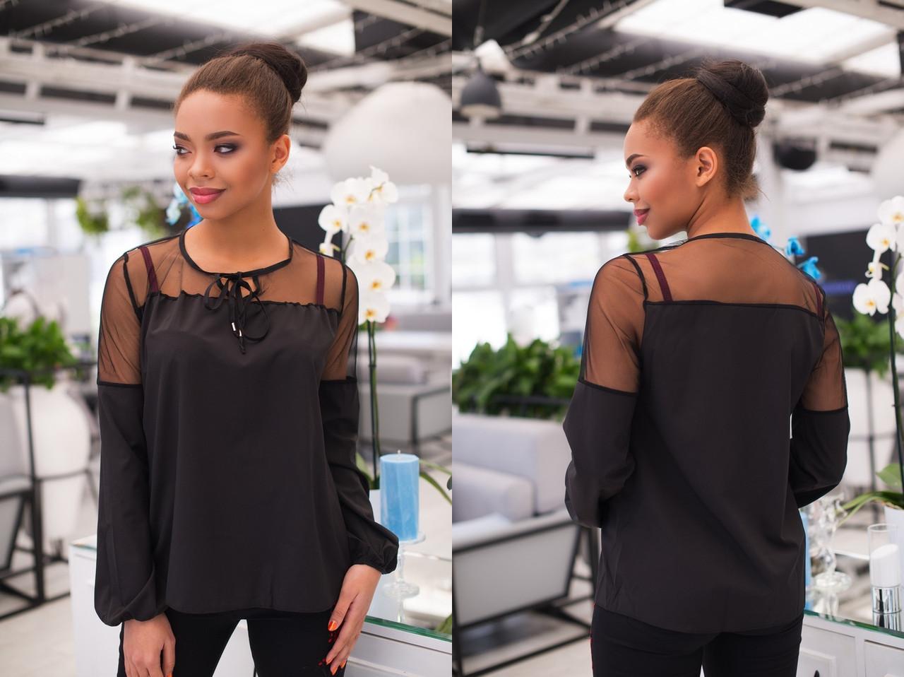 """Комбинированная женская блуза """"LIOR"""" с сеткой и длинным рукавом (7 цветов)"""