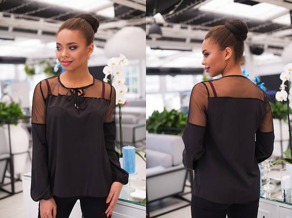 """Комбинированная женская блуза """"LIOR"""" с сеткой и длинным рукавом (7 цветов), фото 2"""