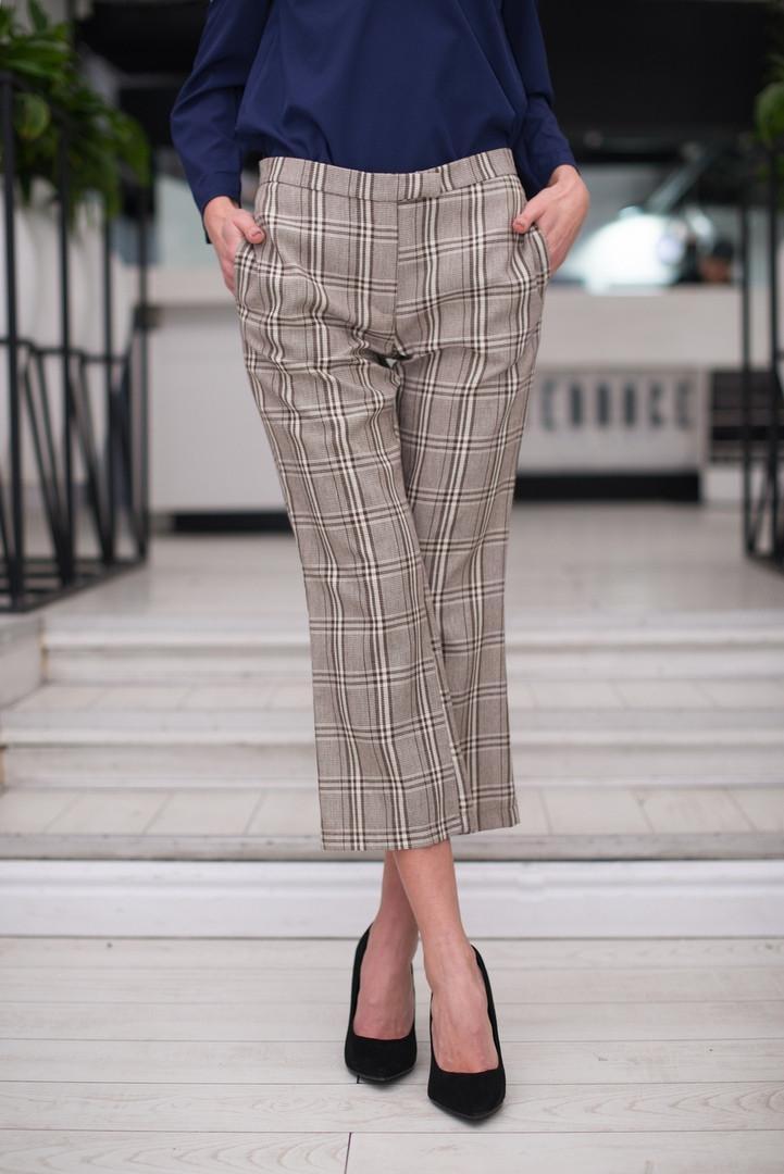"""Укороченные женские брюки в клетку """"MARIO"""" с карманами (2 цвета)"""