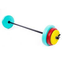 Штанга,фитнес 20кг, блины -- пластиковое покрытие. IronMaster