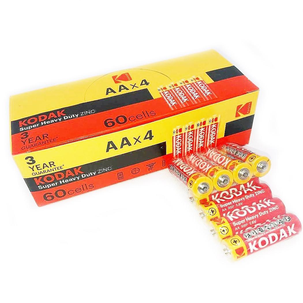Батарейки солевые Kodak AАA мизинчиковые, R 03, упаковка — 60 шт