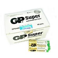 Батарейки алкалайн GP Power super AAA мизинчиковые, R 03, упаковка — 40 шт