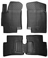 Коврики в салон Kia Rio II 2005 - черные, полиуретановые (Avto-Gumm) - комплект (4 шт.) + перемычка