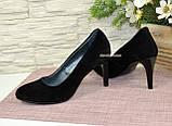 Туфли женские классические замшевые на шпильке! Цвет черный, фото 4