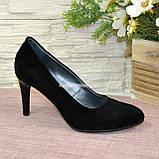 Туфли женские классические замшевые на шпильке! Цвет черный, фото 3